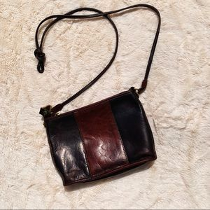 Brahmin Black and Brown Leather Crossbody Bag